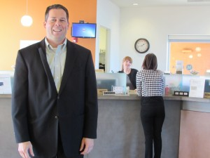 CEO Jef Baker inside one of MBank's Oregon locations.