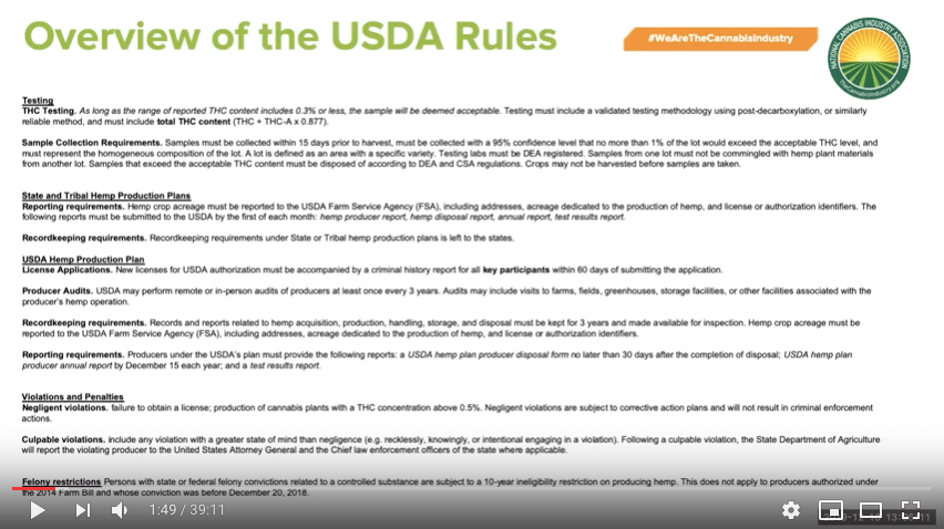 Webinar Recording: NCIA's Official Response To USDA's Hemp Rules